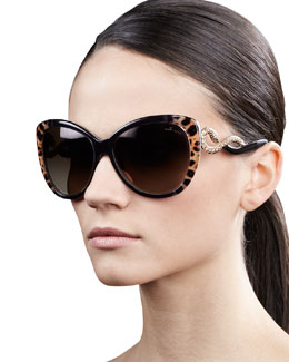Roberto Cavalli Serpent-Temple Oversized Cat-Eye Sunglasses