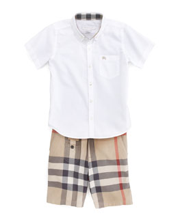 Burberry Mini Button-Collar Shirt & Exploded Check Shorts