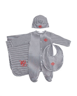 Kissy Kissy Striped Footie, Hat, Bib & Blanket, Navy