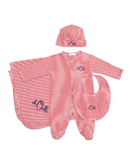 Kissy Kissy Striped Footie, Hat, Bib & Blanket, Red