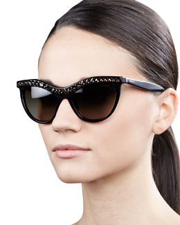 Prada Crystal-Encrusted Cat-Eye Sunglasses