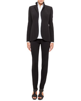 Akris Short Evening Jacket, Long-Sleeve Notched-Collar Poplin Blouse & Carla Classic Pants
