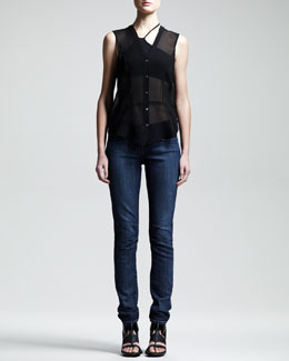Helmut Lang Ghost Silk Top, Asymmetric Jersey Bra & Faded Skinny Jeans