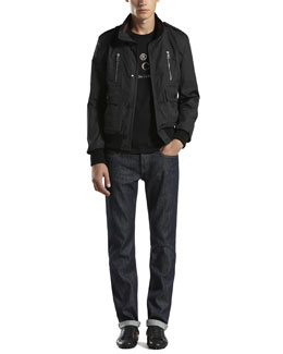 GUCCI Light Padded Bomber Jacket, Stud Logo Tee & Five-Pocket Regular-Leg Jeans
