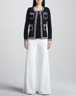 Misook Adrienne Intarsia Jacket, Amy Slim Tank & Knit Palazzo Pants, Women's