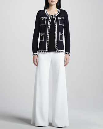 Adrienne Intarsia Jacket, Amy Slim Tank & Knit Palazzo Pants, Women's