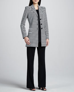 Misook Amelie Long Striped Jacket, Classic-Fit Tank & Boot-Cut Knit Pants