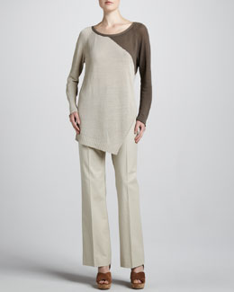 Lafayette 148 New York Two-Tone Slub Sweater & Relaxed Twill Pants