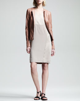 THE ROW Stretch-Leather Peplum Jacket & Crepe-Back Satin Dress