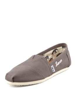 TOMS Monogrammed Classic Canvas Slip-on, Ash