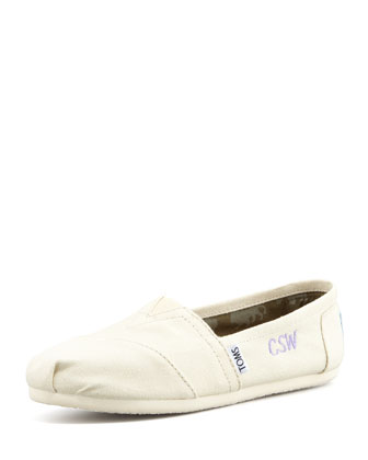 Monogrammed Classic Canvas Slip On, Natural