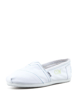 TOMS Monogrammed Classic Canvas Slip On, White