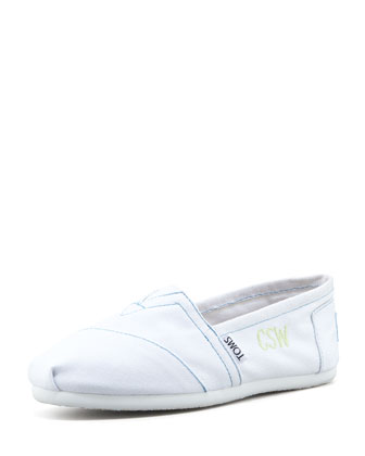 Monogrammed Classic Canvas Slip On, White