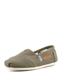TOMS Monogrammed Classic Canvas Clip On, Olive