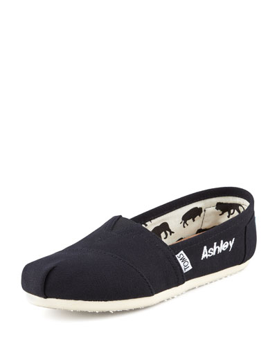 TOMS Monogrammed Classic Slip On, Black