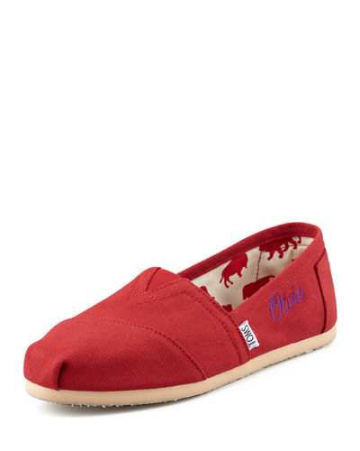 TOMS Monogrammed Classic Canvas Slip On, Red