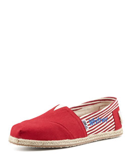TOMS Monogrammed Classic University Slip On, Red