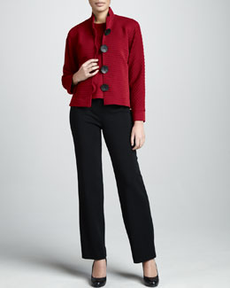 Caroline Rose Ottoman Ribbed Jacket, Crewneck Sweater & Straight-Leg Pants, Women's