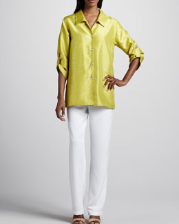 Caroline Rose Shantung Tab Shirt & Pants, Women's