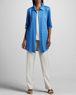 Caroline Rose Long Linen Shirt, Cabo Crinkle Tank & Cabo Straight-Leg Pants
