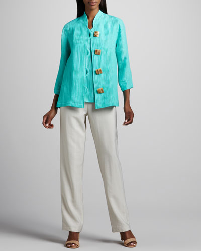 Caroline Rose Wave-Rib Shirt, Long Tank & Cabo Straight-Leg Pants