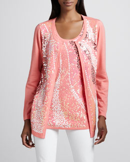Berek Wavy Sequined Cardigan & Shell, Women's