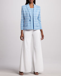 Misook Kyle Striped Jacket, Amy Slim Tank & Knit Palazzo Pants