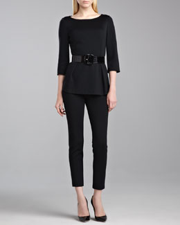St. John Collection Milano Peplum Top, Alexa Milano Leggings & Wide Patent Belt