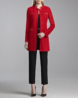 St. John Collection Cipressa Bouclette Topper Jacket, Fine Gauge Ribbed Knit Shell & Alexa Venetian Pants