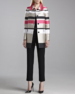 St. John Collection Striped Mikado Topper Jacket, Fine Gauge Ribbed Knit Shell & Alexa Venetian Pants