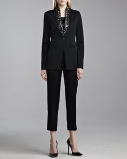 St. John Collection Milano Knit Stand Collar Jacket, Liquid Satin Shell & Emma Liquid Satin Crop Pants