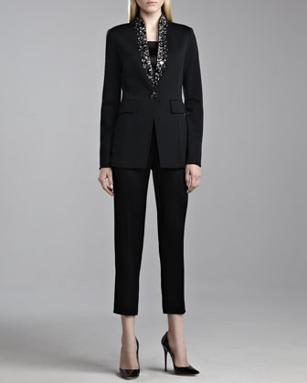 Milano Knit Stand Collar Jacket, Liquid Satin Shell & Emma Liquid Satin ...