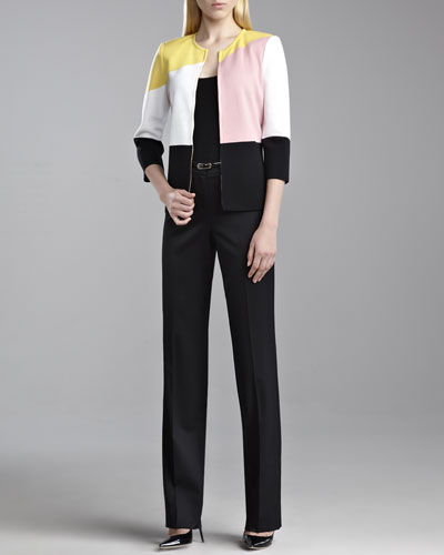 St. John Collection Milano Colorblock Jacket, Fine Gauge Ribbed Knit Shell & Diana Venetian Pants