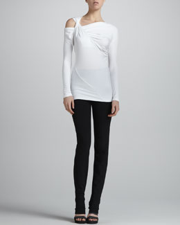 Donna Karan Cold-Shoulder Long-Sleeve Twisted Top & Slim Straight-Leg Pants