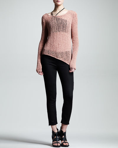 Helmut Lang Sheer Asymmetric Pullover, Asymmetric Jersey Bra & Cropped Skinny Jeans