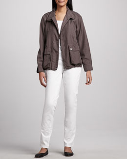 Eileen Fisher Satin Zip Cargo Jacket, Organic-Cotton Tank & Stretch Twill Denim Jeans