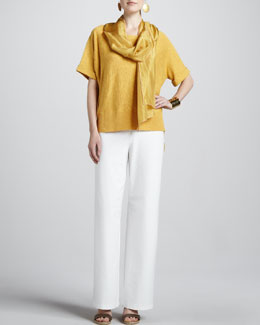 Eileen Fisher Boxy High-Low Top, Whisper Silk Wrap, Stretch Crepe Wide-Leg Pants, Petite
