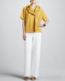 Eileen Fisher Boxy High-Low Top, Whisper Silk Wrap, Stretch Crepe Wide-Leg Pants, Women's