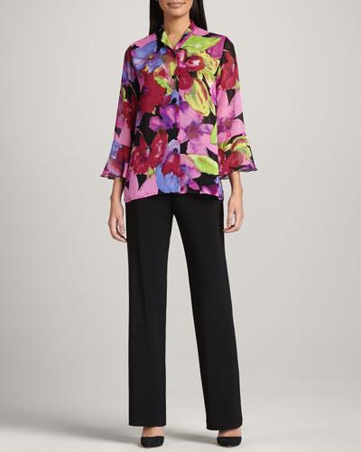 Caroline Rose Paradise-Flower Georgette Blouse & Straight-Leg Stretch Pants