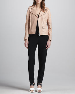 McQ Alexander McQueen Zip-Front Leather Moto Jacket, V-Neck Sleeveless Top & Tie-Waist Relaxed Pants