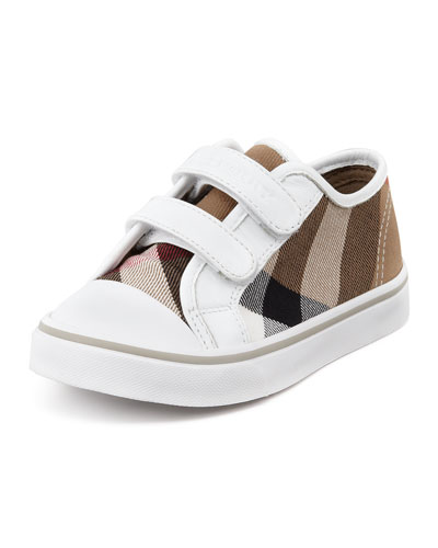 Check Double-Strap Sneaker, White