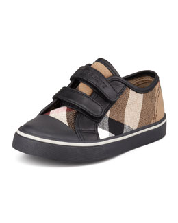 Burberry Check Double-Strap Sneaker, Black