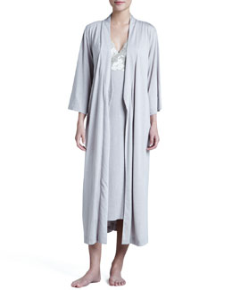 Natori Zen Long Jersey Wrap Robe & Floral-Trim Gown