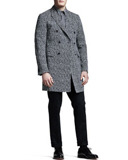 Jil Sander Hexagon-Print Double-Breasted Jacket, Short-Sleeve Shirt & Slim Cropped Pants