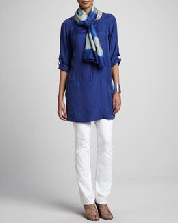 Eileen Fisher Tunic/Dress, Stretch Twill Denim Jeans & Silk Shibori Road Scarf