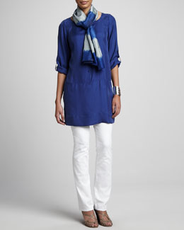 Eileen Fisher Tunic/Dress, Stretch Twill Jeans & Silk Shibori Road Scarf, Women's