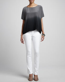 Eileen Fisher Ombre Wedge Silk Top & Stretch Twill Denim Jeans