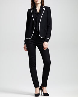 Saint Laurent Piped Peak-Lapel Tuxedo Jacket, Silk Bow Blouse & Leather-Trim Tuxedo Pants