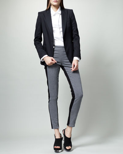 Stella McCartney Classic One-Button Jacket & Bicolor Lulu Jeans