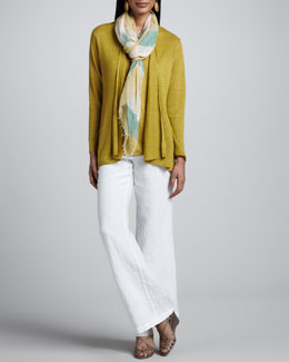 Eileen Fisher Linen Flutter Cardigan, Linen-Jersey Tank, Heavy Linen Trousers & Air Striped Scarf, Petite